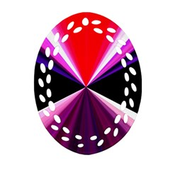 Red And Purple Triangles Abstract Pattern Background Oval Filigree Ornament (two Sides)