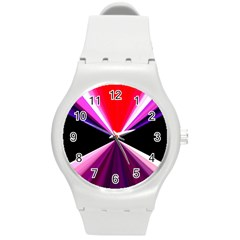 Red And Purple Triangles Abstract Pattern Background Round Plastic Sport Watch (m)