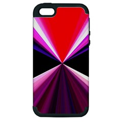 Red And Purple Triangles Abstract Pattern Background Apple iPhone 5 Hardshell Case (PC+Silicone)