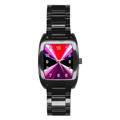 Red And Purple Triangles Abstract Pattern Background Stainless Steel Barrel Watch