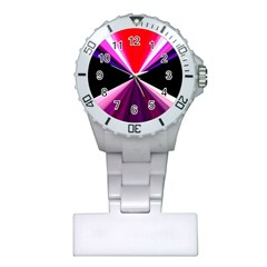 Red And Purple Triangles Abstract Pattern Background Plastic Nurses Watch