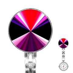 Red And Purple Triangles Abstract Pattern Background Stainless Steel Nurses Watch