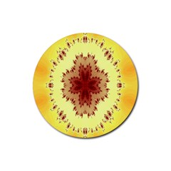 Yellow Digital Kaleidoskope Computer Graphic Rubber Coaster (Round)