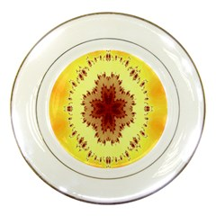 Yellow Digital Kaleidoskope Computer Graphic Porcelain Plates