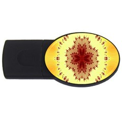 Yellow Digital Kaleidoskope Computer Graphic Usb Flash Drive Oval (4 Gb)