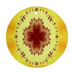 Yellow Digital Kaleidoskope Computer Graphic Round Ornament (Two Sides)