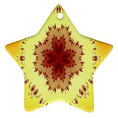 Yellow Digital Kaleidoskope Computer Graphic Star Ornament (two Sides)