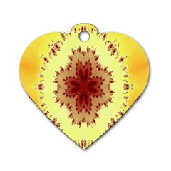 Yellow Digital Kaleidoskope Computer Graphic Dog Tag Heart (Two Sides)