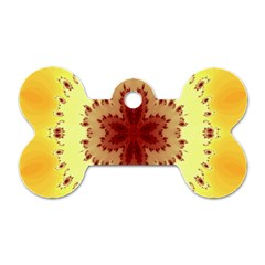 Yellow Digital Kaleidoskope Computer Graphic Dog Tag Bone (two Sides)