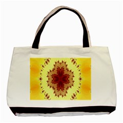 Yellow Digital Kaleidoskope Computer Graphic Basic Tote Bag (two Sides)