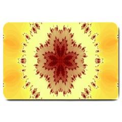 Yellow Digital Kaleidoskope Computer Graphic Large Doormat