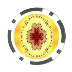 Yellow Digital Kaleidoskope Computer Graphic Poker Chip Card Guard
