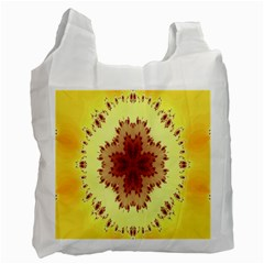 Yellow Digital Kaleidoskope Computer Graphic Recycle Bag (Two Side)