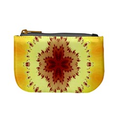Yellow Digital Kaleidoskope Computer Graphic Mini Coin Purses