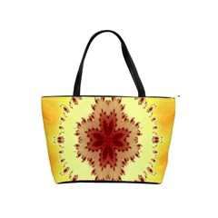 Yellow Digital Kaleidoskope Computer Graphic Shoulder Handbags