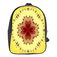 Yellow Digital Kaleidoskope Computer Graphic School Bags(Large)