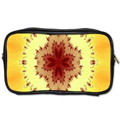 Yellow Digital Kaleidoskope Computer Graphic Toiletries Bags 2-Side