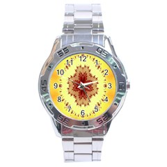 Yellow Digital Kaleidoskope Computer Graphic Stainless Steel Analogue Watch