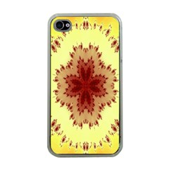 Yellow Digital Kaleidoskope Computer Graphic Apple Iphone 4 Case (clear)