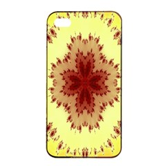 Yellow Digital Kaleidoskope Computer Graphic Apple iPhone 4/4s Seamless Case (Black)