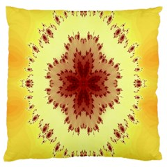 Yellow Digital Kaleidoskope Computer Graphic Large Cushion Case (Two Sides)