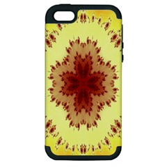 Yellow Digital Kaleidoskope Computer Graphic Apple Iphone 5 Hardshell Case (pc+silicone)