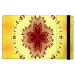 Yellow Digital Kaleidoskope Computer Graphic Apple Ipad 3/4 Flip Case