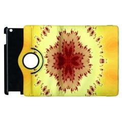 Yellow Digital Kaleidoskope Computer Graphic Apple Ipad 3/4 Flip 360 Case