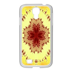 Yellow Digital Kaleidoskope Computer Graphic Samsung GALAXY S4 I9500/ I9505 Case (White)