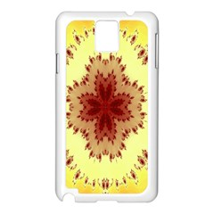Yellow Digital Kaleidoskope Computer Graphic Samsung Galaxy Note 3 N9005 Case (White)