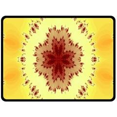 Yellow Digital Kaleidoskope Computer Graphic Double Sided Fleece Blanket (large)
