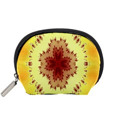 Yellow Digital Kaleidoskope Computer Graphic Accessory Pouches (small)