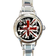 British Flag Round Italian Charm Watch