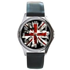 British Flag Round Metal Watch