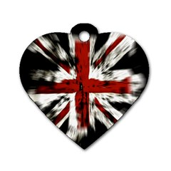 British Flag Dog Tag Heart (one Side)