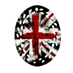British Flag Oval Filigree Ornament (two Sides)