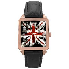British Flag Rose Gold Leather Watch