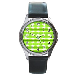 Abstract Pattern Background Wallpaper In Multicoloured Shapes And Stars Round Metal Watch
