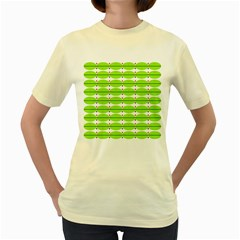 Abstract Pattern Background Wallpaper In Multicoloured Shapes And Stars Women s Yellow T-Shirt