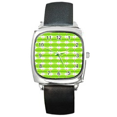 Abstract Pattern Background Wallpaper In Multicoloured Shapes And Stars Square Metal Watch