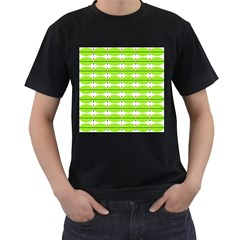 Abstract Pattern Background Wallpaper In Multicoloured Shapes And Stars Men s T-Shirt (Black) (Two Sided)