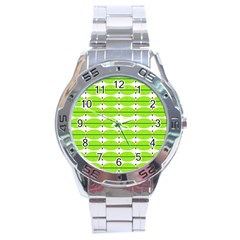 Abstract Pattern Background Wallpaper In Multicoloured Shapes And Stars Stainless Steel Analogue Watch