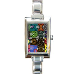 Digitally Created Abstract Patchwork Collage Pattern Rectangle Italian Charm Watch