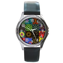 Digitally Created Abstract Patchwork Collage Pattern Round Metal Watch