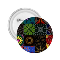 Digitally Created Abstract Patchwork Collage Pattern 2.25  Buttons