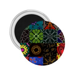 Digitally Created Abstract Patchwork Collage Pattern 2.25  Magnets