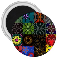 Digitally Created Abstract Patchwork Collage Pattern 3  Magnets