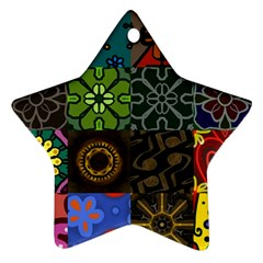 Digitally Created Abstract Patchwork Collage Pattern Ornament (Star)