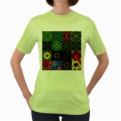 Digitally Created Abstract Patchwork Collage Pattern Women s Green T-Shirt