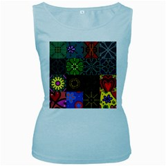 Digitally Created Abstract Patchwork Collage Pattern Women s Baby Blue Tank Top